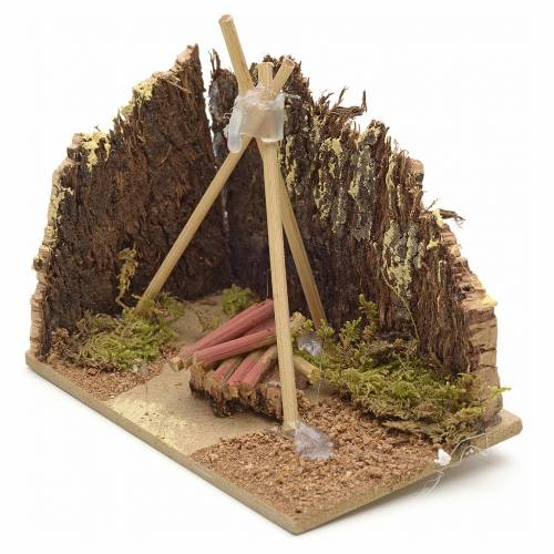Nativity setting, base for fire pit 10x6cm s2