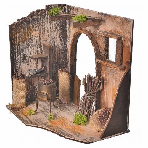 Nativity setting, chestnut seller shop 20x14x20cm s2