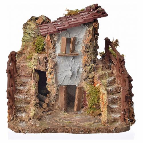 Nativity setting, country cottage with stairs 19x19x16cm s1