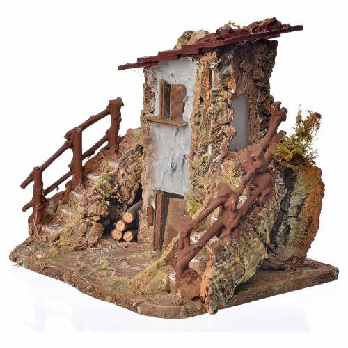 Nativity setting, country cottage with stairs 19x19x16cm s3