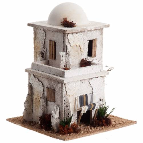 Nativity setting, double Arabian house with dome s2