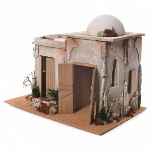 Nativity setting, double minaret with stable 46x60x40cm s3