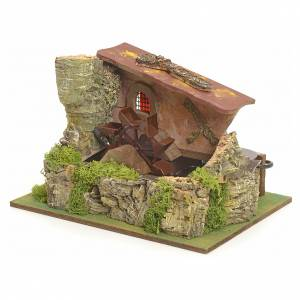 Watermills and windmills: Nativity setting, electric water mill with house