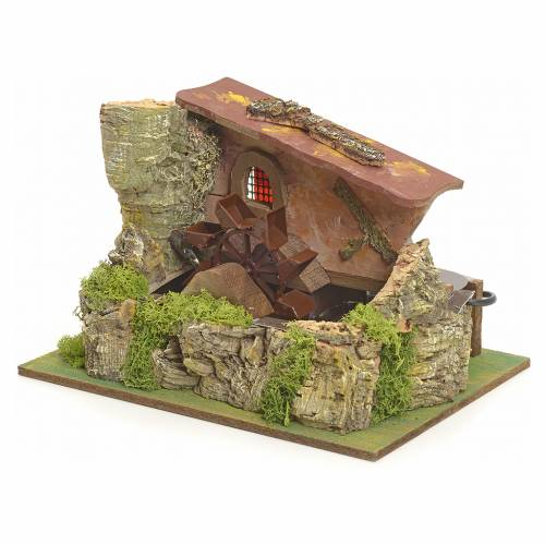Nativity setting, electric water mill with house s2