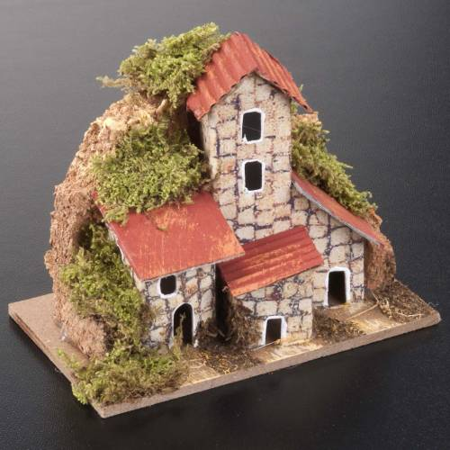 Nativity setting, houses in assorted models 10x6cm s2