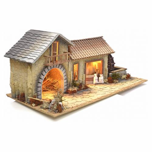 Nativity setting, northern house with moving mill s2