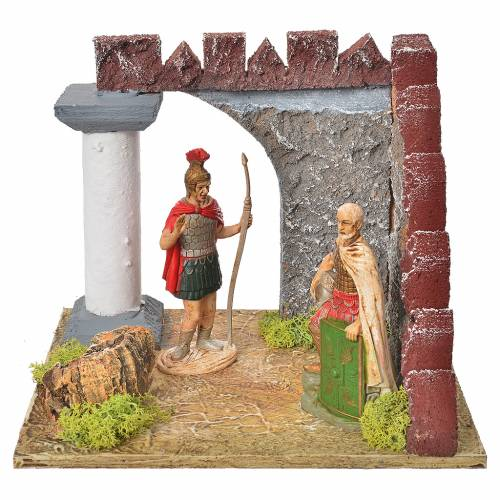 Nativity setting, Roman guards and castle wall s1