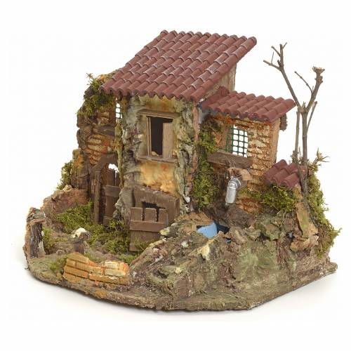 Nativity setting, rustic village with electric fountain s3