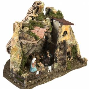 Nativity setting, stable with fire pit 28x38x28cm s5