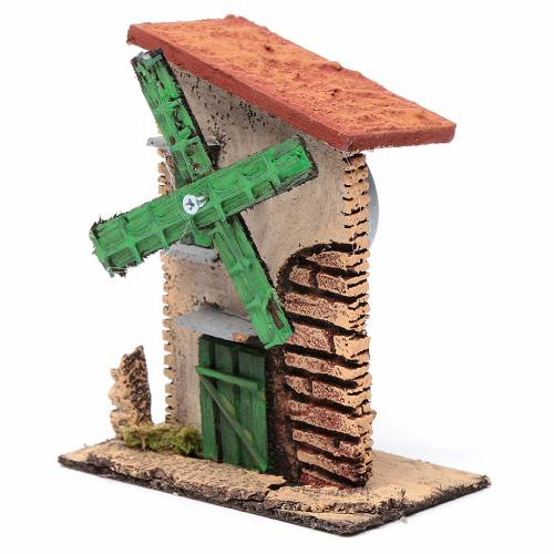 Nativity setting, wind mill in wood and cork with irregular roof s2