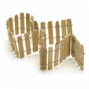 Nativity setting, wooden fence, 40cm long s2