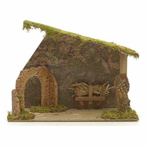 Nativity stable in cork with arch and rocks 31x42x20cm s1