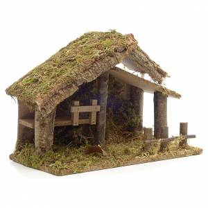 Nativity stable in cork with moss and barn 26x35x20cm s2