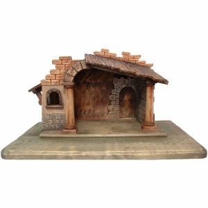 Nativity stable in painted Valgardena wood s1
