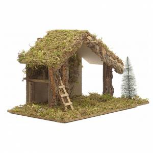 Stables and grottos: Nativity stable with hayloft and stairs