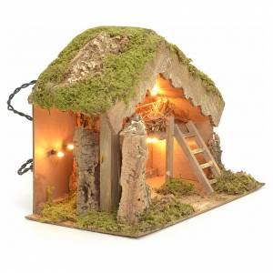 Nativity stable with lights 24x33x18cm s2
