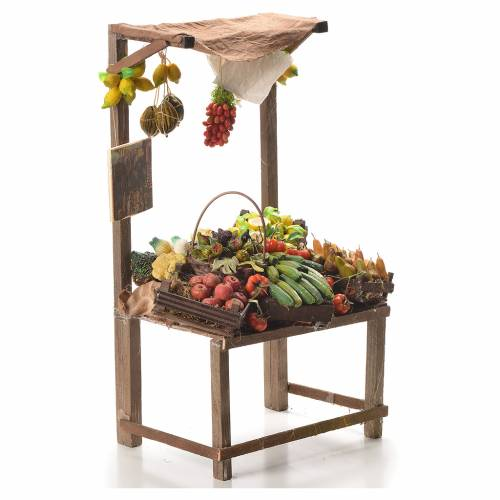 Nativity stall with fruit in wax 41x22x15cm s4