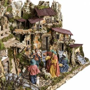 Stables and grottos: Nativity village, stable with fountain 80x110x70cm
