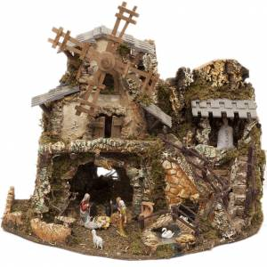 Nativity village with lights, grotto, mill 50x58x38cm s1