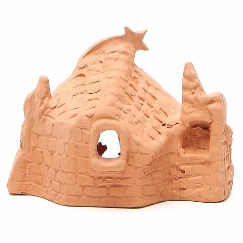 Nativity with grotto in terracotta 10x14x6cm s4