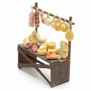 Neapolitan nativity accessory, cured meat and cheese stall 9x8x3 s3