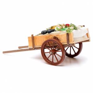 Neapolitan Nativity accessory, fruit and vegetable cart in wax 6 s3