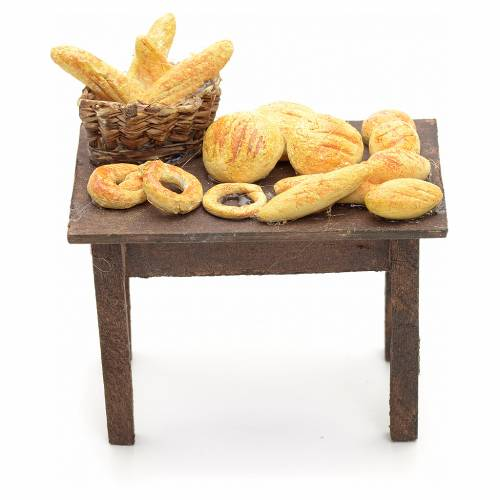 Neapolitan nativity accessory, table with bread basket 12cm s1