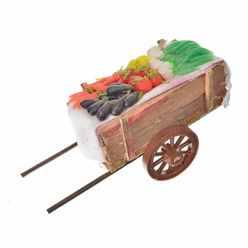 Neapolitan Nativity accessory, vegetable cart in wax 5x11x5cm s1