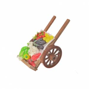 Neapolitan Nativity accessory, vegetable cart in wax 5x9x5cm s2