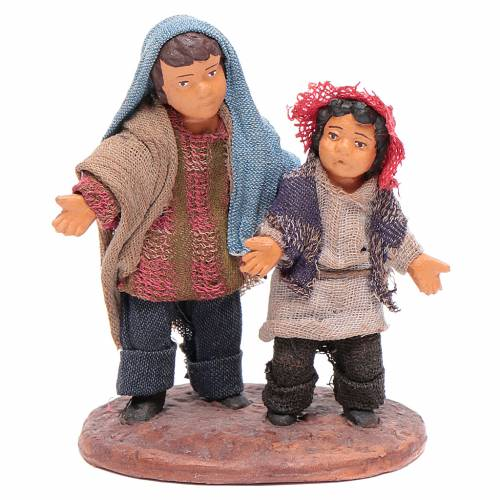 Neapolitan Nativity figurine, couple of young boys, 12 cm s1