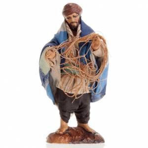 Neapolitan Nativity figurine, Fisherman with fish net 8cm s1