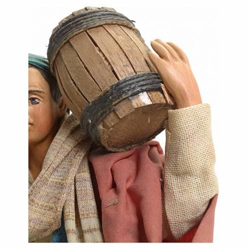 Neapolitan Nativity figurine, man carrying cask, 18 cm s4