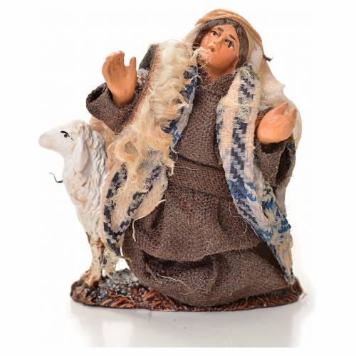 Neapolitan Nativity figurine, man kneeling with sheep, 6 cm s1