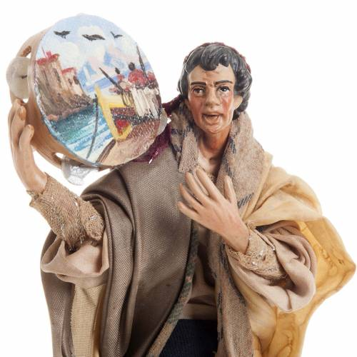 Neapolitan nativity figurine, man with tambourine 18cm 2
