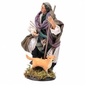 Neapolitan Nativity figurine, shepherd with dog, 18 cm s2