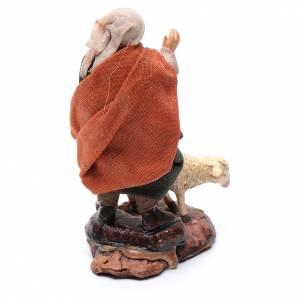 Neapolitan nativity figurine, shepherd with sheep, 8cm s3