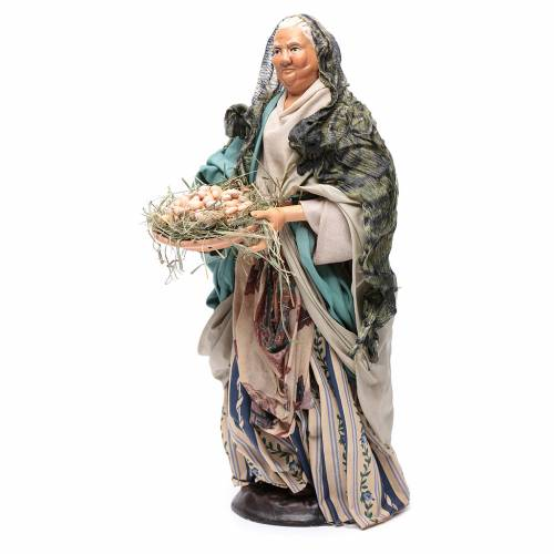 Neapolitan Nativity figurine, woman with egg basket, 30 cm s2
