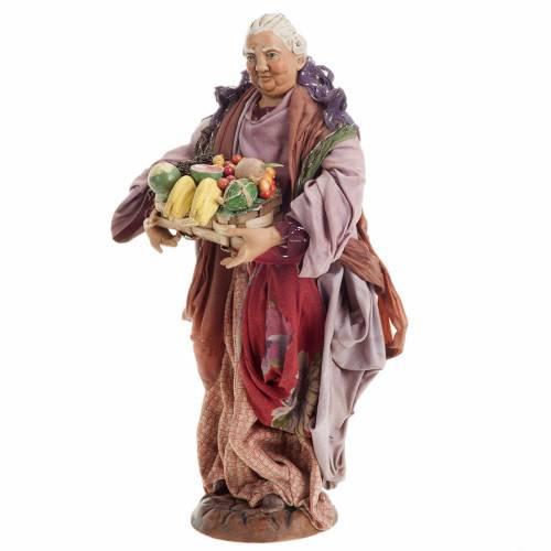 Neapolitan nativity figurine, woman with fruit basket 30cm s3