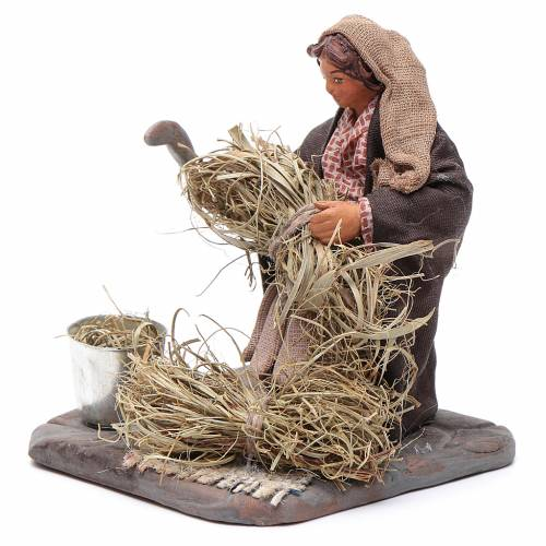 Neapolitan Nativity figurine, woman with sickle, 10 cm s2