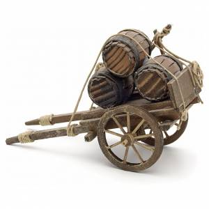 Neapolitan Nativity scene accessory, cart with casks s2