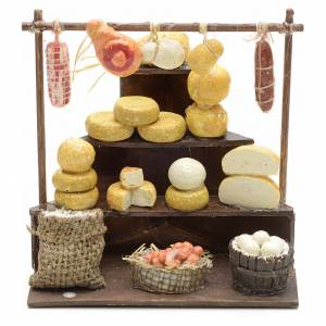 Neapolitan Nativity scene accessory, cheese and meat stall s1