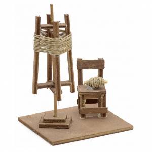 Neapolitan Nativity Scene: Neapolitan Nativity scene accessory, spinning mill with chair