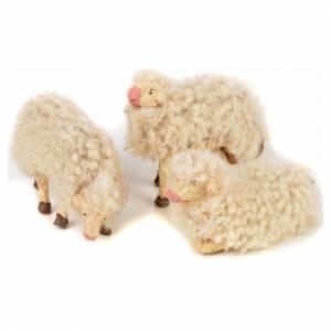 Neapolitan Nativity scene figurine, kit, 3 sheep with wool 12 cm s1