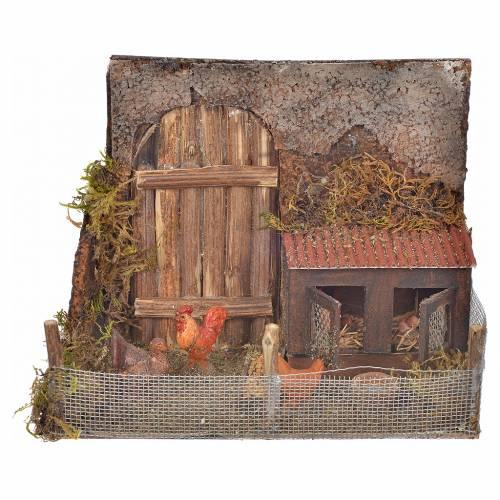 Neapolitan nativity setting, coop with hens, 12x16x8cm s1