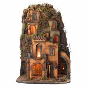Neapolitan Nativity Village on rocks, 1700 style 85x60x64cm s1