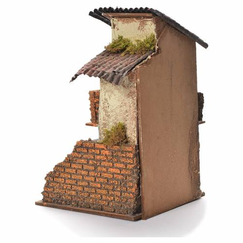 Neapolitan Nativity wooden house 31x20x19cm s3