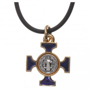 Necklace with St. Benedict Celtic cross, blue 2x2cm s3