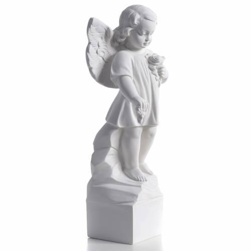 Ángel lanza flores 40cm polvo de mármol s2