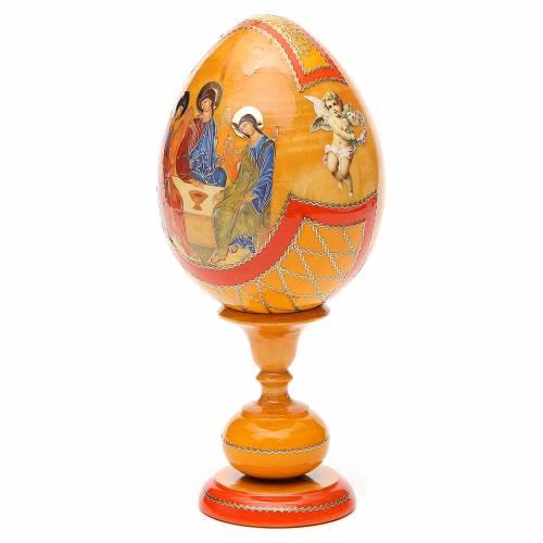 Oeuf bois découpage Russie Trinité Roublev h 20 cm style Fabergé s2