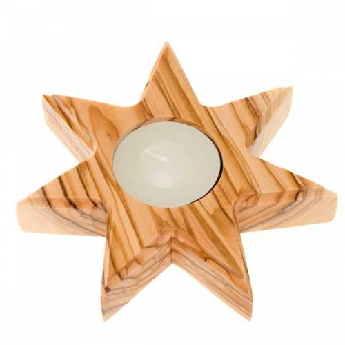 Olive wood candle-holder 7 point star s1